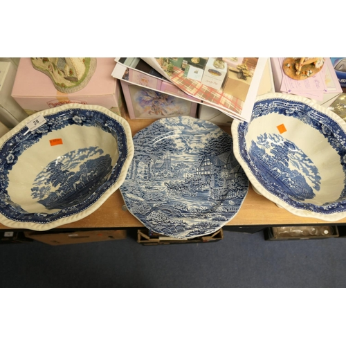 28 - Two Adams English scenic pattern blue and white bowls and two blue and white plates (4)...
