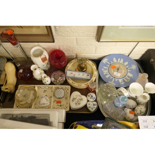 3 - Number of china ornaments including Wedgwood jasper ware barometer, Royal Doulton nursery plate, Wed...