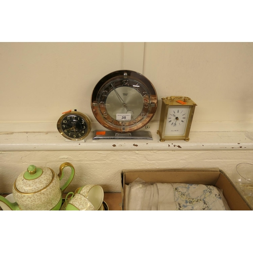 35 - Smiths Sectric Art Deco mantel clock with replaced movement; also a vintage Westclox Baby Ben alarm ...
