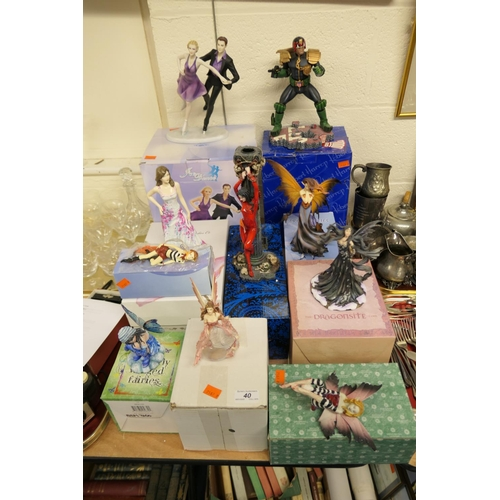 40 - Number of decorative fantasy figures with boxes...