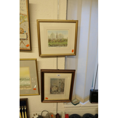 42 - Framed Florentine engraving and a framed limited edition print of Salisbury Cathedral...