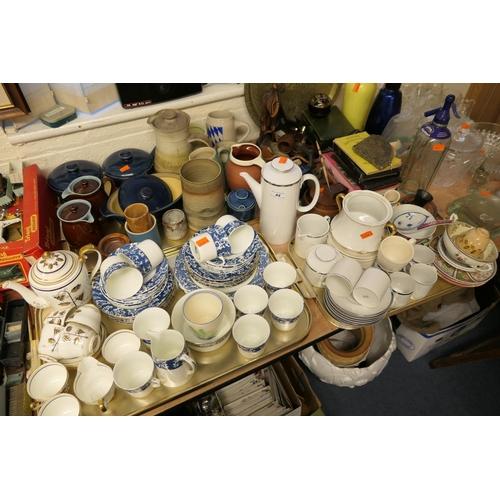 44 - Mixed ceramics including china tea wares, Grey's Pottery beaker, Denby stone wares etc (3 trays)...