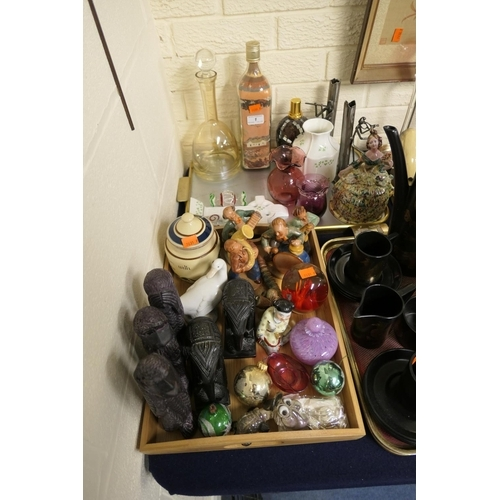 1 - Number of decorative ornaments including Torquay mottoware jar and cover, decanter, glass paperweigh...