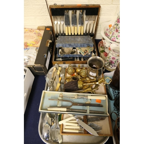 9 - Loose and boxed cutlery, ornamental brass wares etc...