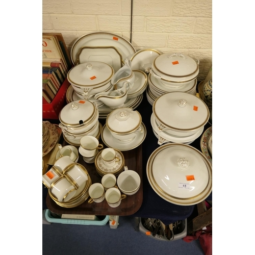 15 - Extensive Minton's stoneware dinner service; also some similar Keeling & Co. sauce tureens and Cauld...