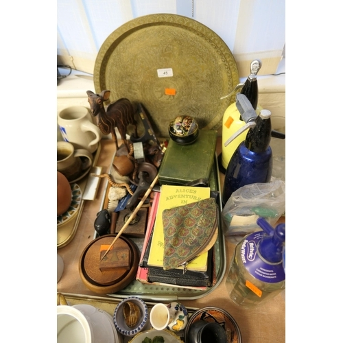 45 - Assorted collectables including Edward Lear's Book of Nonsense, jewellery boxes, fossils, vintage so...