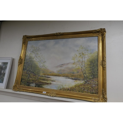 437 - Robert Stark Wilkinson (active late 19th/early 20th Century), Mountain lake, signed oil on canvas...
