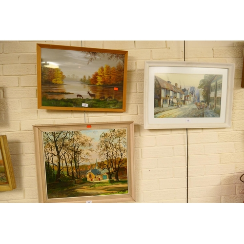 12 - A Watts, an olde worlde street scene, watercolour, signed and dated 1912; also an oil painting of a ...