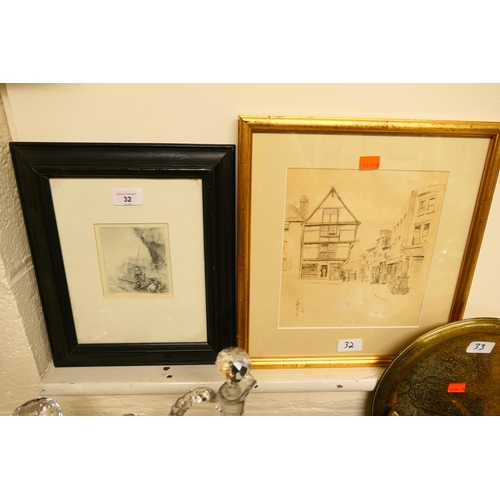 32 - Framed dry point etching,