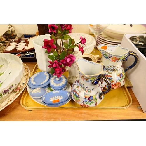 38 - Two Mason's ironstone Hydra jugs, Wedgwood jasper wares, other decorative ceramics (1 tray)...