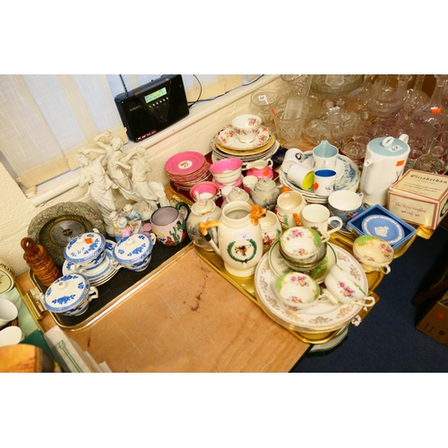 47 - Mixed ceramics including Susie Cooper china coffee pot, ironstone and other plates, hunting ware ite...