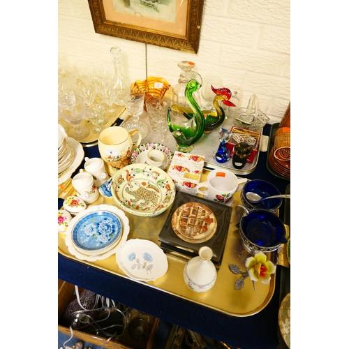 6 - Decorative ornamental china and glassware including Murano bird dishes (2 trays)...