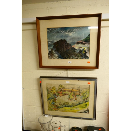 19 - Watercolour and pastel drawing of a rocky coastline, signed Malpass; also framed watercolour of a co...