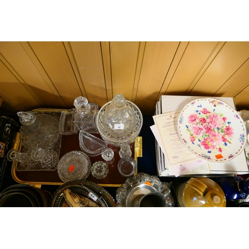 40 - Cut and moulded glassware including ship's decanter, candlesticks etc; also Royal Albert collectors'...