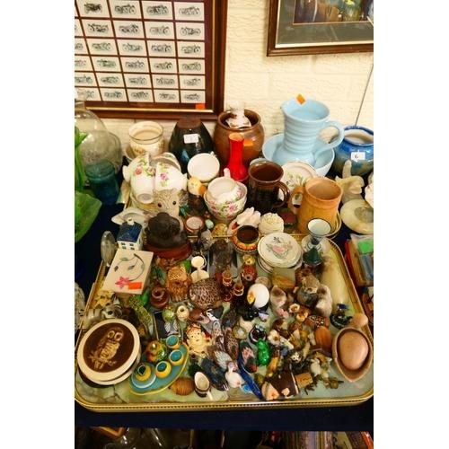 2 - Mixed ornaments, china tea wares and general ceramics (2 trays)...