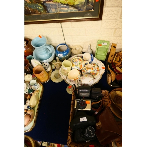 6 - China tea wares, onyx items, mixed ceramics; also vintage cameras including Pentax ES...