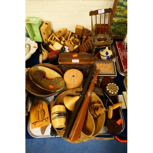 7 - Mixed treen items including figures, bowls, miniature rocking chair, boxes etc (2 trays)...