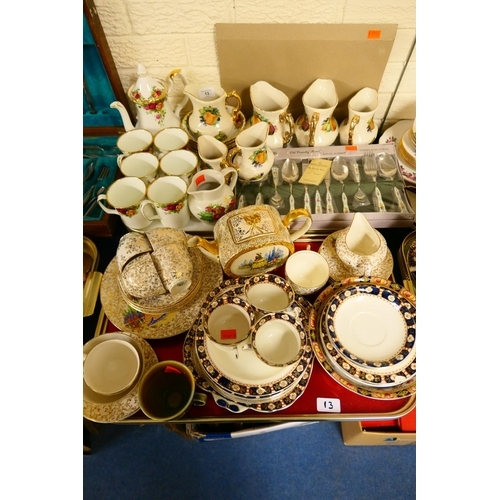 13 - Royal Albert Old Country Roses coffee pot and six coffee mugs; also six breakfast bowls and a monogr...