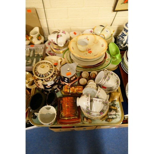 14 - Cottage ware cruet, butter dish, other general ceramics and tea wares (2 trays)...