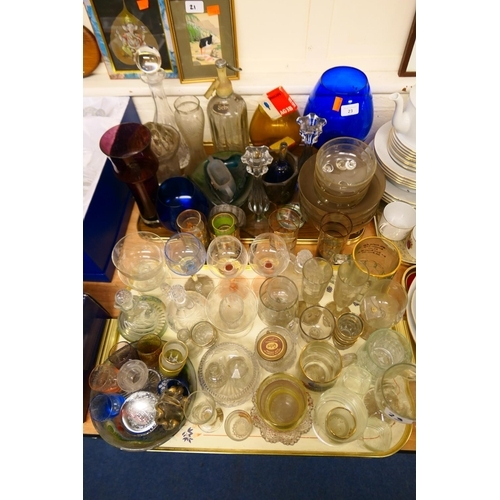 23 - Mixed Victorian and later glassware including vintage soda syphon (2 trays)...