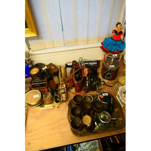 30 - Mixed collectables including coconut cups, Art Deco letter rack, vintage cameras, ice buckets (3 tra...