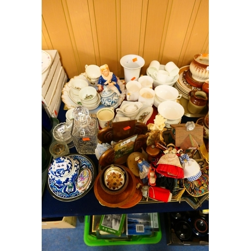 44 - Mixed ceramics including French game series ramekins, jelly mould, cut crystal decanter, treen items...