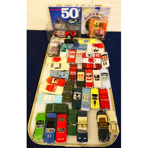 2 - Modern die cast American and other cars; also a boxed calendar/diary (1 tray)...