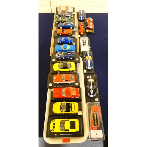 4 - Die cast and mounted American sports cars (2 trays)...