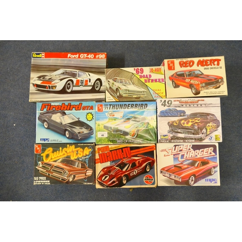 46 - Various manufacturers model kits including a Ford '71 Thunderbird, Red Alert Drag Chevelle SS and a ...