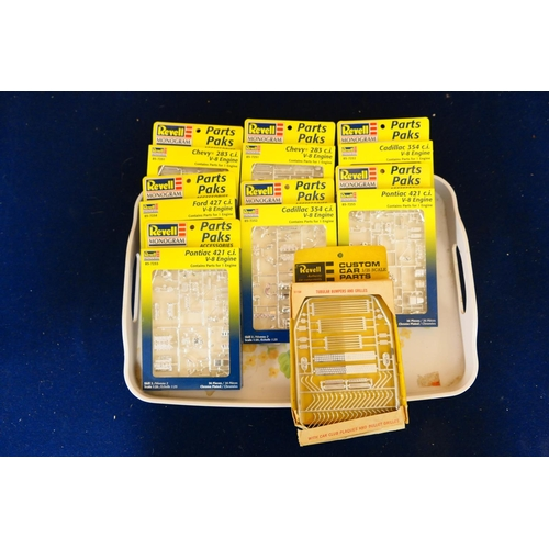 47 - Revell Monogram car engine model kits for Pontiac and Cadillac etc (1 tray) (Please refer to the not...