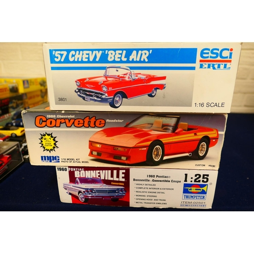 5 - Three car model kits of an '88 Corvette, '57 Chevy Belair and a 1960 Pontiac Bonneville (Please refe...
