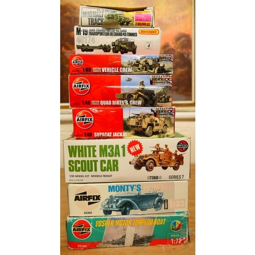 22 - Mixed military Airfix and Matchbox model kits of British and American vehicles; also a Vospa motor t...