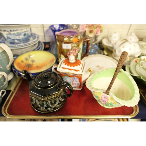 19 - Ceramic wares including Sadler teapot, Dewey teapot and stand; also further plates etc...