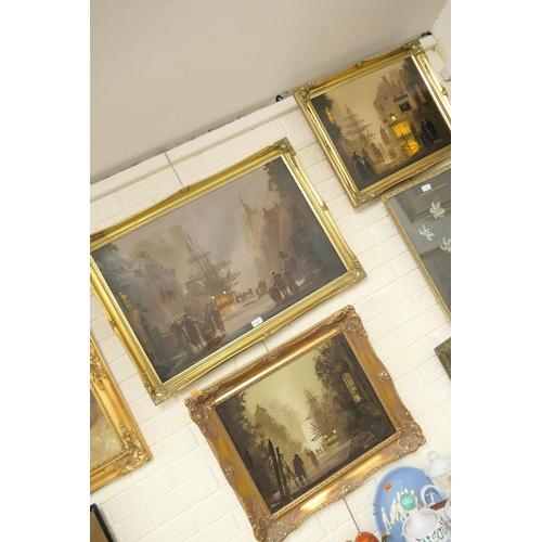24 - Delon, three gilt framed oil paintings, signed...