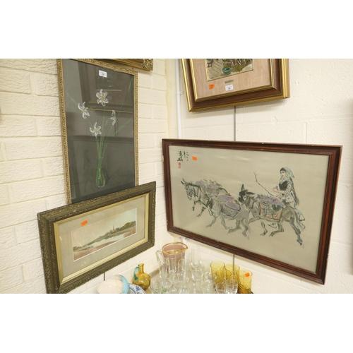 25 - Kate Wood, framed pastel still life sketch of Narcissi, signed and dated 1918; also a framed river l...