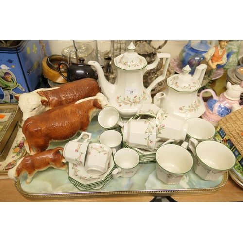 31 - Eternal Bow pattern coffee and tea sets; also a Herefordshire bull, cow and calf set...