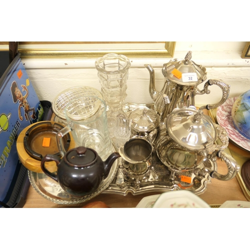 32 - Attractive four piece silver plated tea and coffee service on a silver plated tray; also a moulded g...