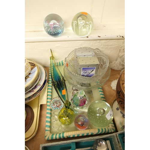 36 - Glass paperweights, Murano gondola and a scent bottle etc...
