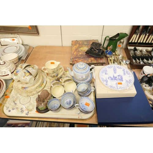 44 - Mixed tea services, glassware, unframed prints, collectors' plates and a Kodak ball bearing bellow s...