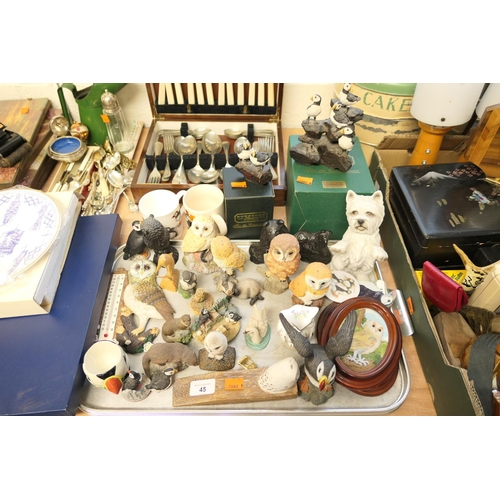 45 - Mixed collectables of owls, puffins and dogs...