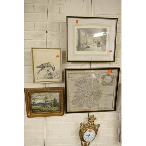 16 - Gordon Leigh, mountain landscape oil on canvas framed; also a Robert Morden printed map of Shropshir...