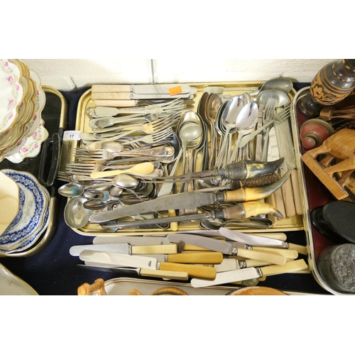 17 - Horned handled carving set, electro-plated cutlery and further modern cutlery including moulded hand...