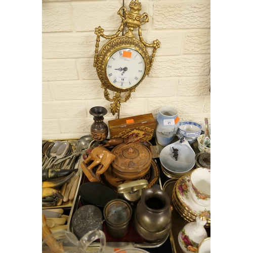 18 - Carved lidded wooden dish, further boxes; also brass bell, pot and bowl and wall clock etc...