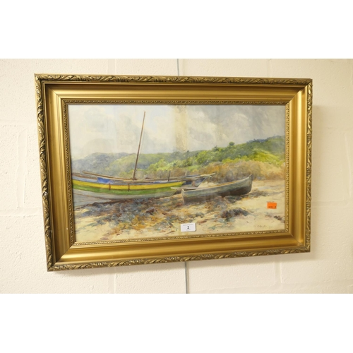 2 - C Knight, fishing boats moored on the beach, gilt framed watercolour (AF)...