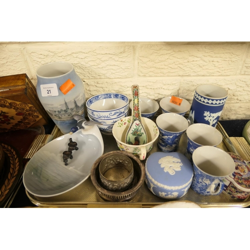 21 - Royal Copenhagen vase, pin dish (AF), Villeroy & Boch tea bowls, Wedgwood and a small amount of EPNS...
