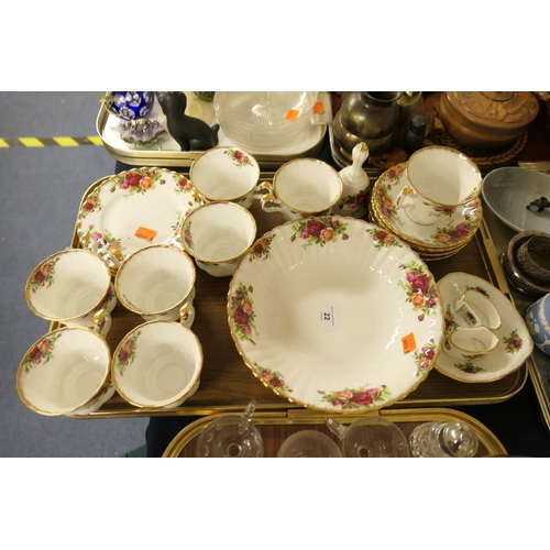 22 - Royal Albert Old Country Roses tea wares; also Royal Albert Old Country Roses fruit bowl, bell and n...
