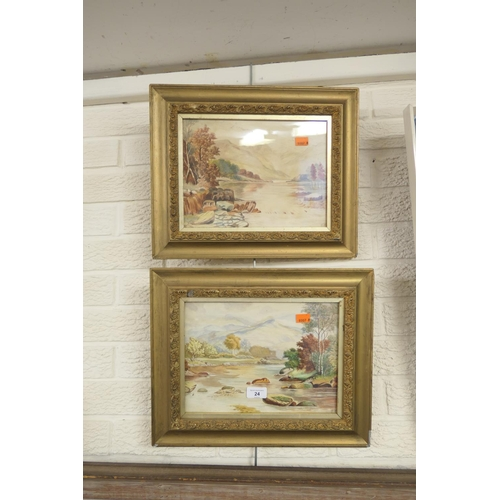 24 - G. White, pair of Mountain landscapes, in pastel, gilt framed, signed...