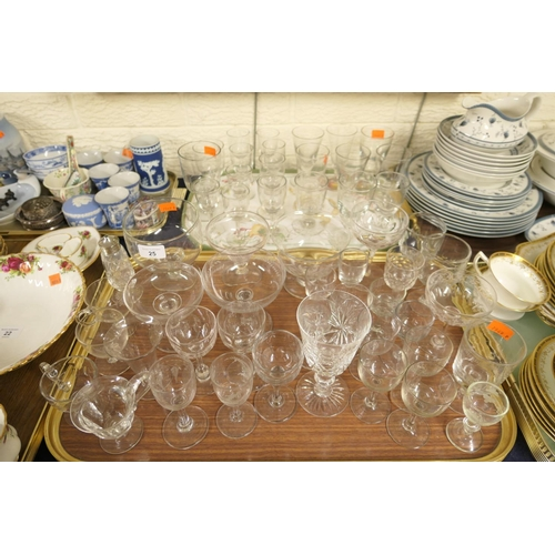 25 - Mixed Victorian and later pedestal glassware including sherry, ale and port glasses; also fruit dish...