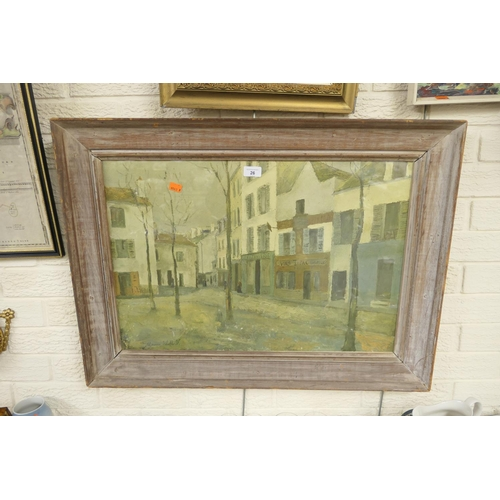 26 - After Maurice Utrillo print of a French town scene in a dark pine frame...