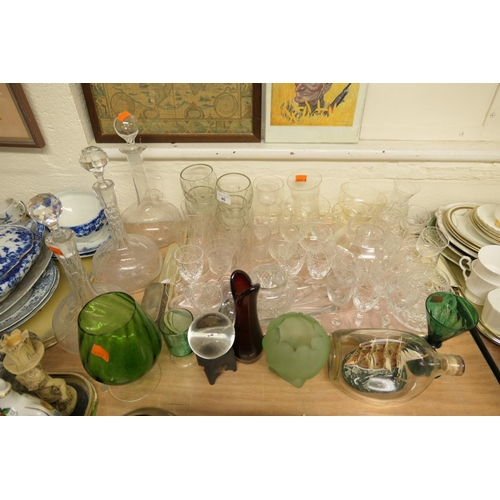46 - Pair of Edwardian decanters, tumblers, fruit bowls, further coloured glass wares and a masted ship i...